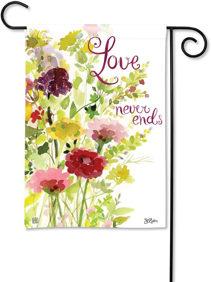 BreezeArt Studio M Love Never Ends Decorative Memorial Bereavement Garden Flag – Premium Quality, 12.5 x 18 Inches