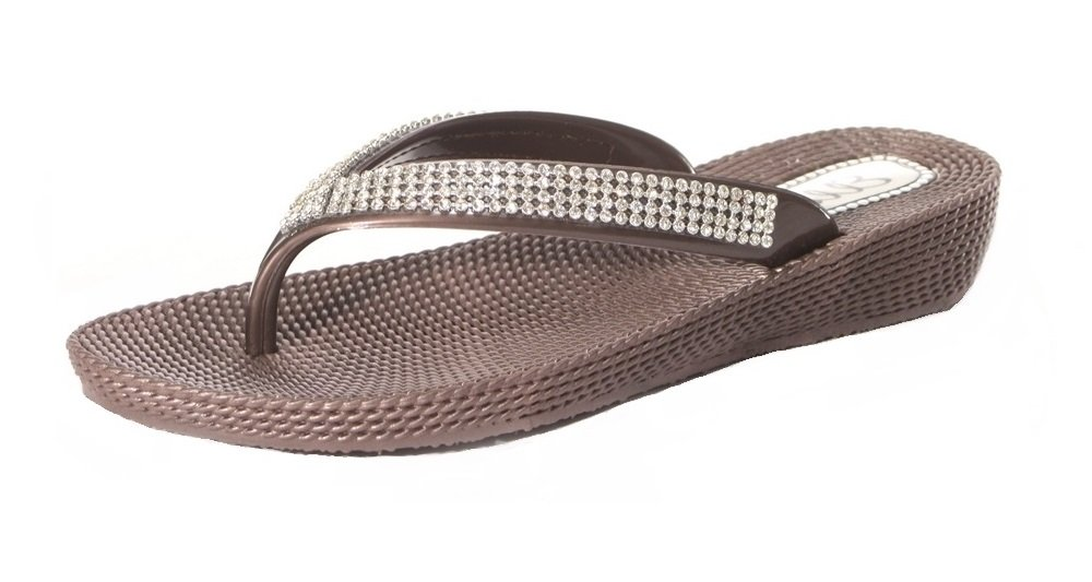 Flip-Flop-Sandalen für Damen, Strassbesatz, flacher Keilabsatz, Zehensteg, für Sommer, Strand, zum Ausgehen, Rot - rot - Größe: 42