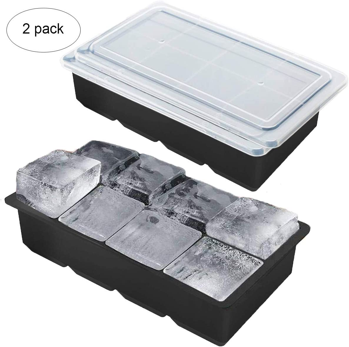 Large Ice Cube Trays with Lid for Whiskey 8 Cavity Silicone Large Ice Cube Mold with Cover Set of 2, BPA Free