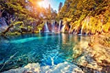 OFILA Plitvice Lakes Backdrop 9x6ft Croatia National Park Cascade Photography Background Nature Scenery Travel Themed Photos Holiday Journey Mountains Shoots Adventure Events Waterfall Photos Props