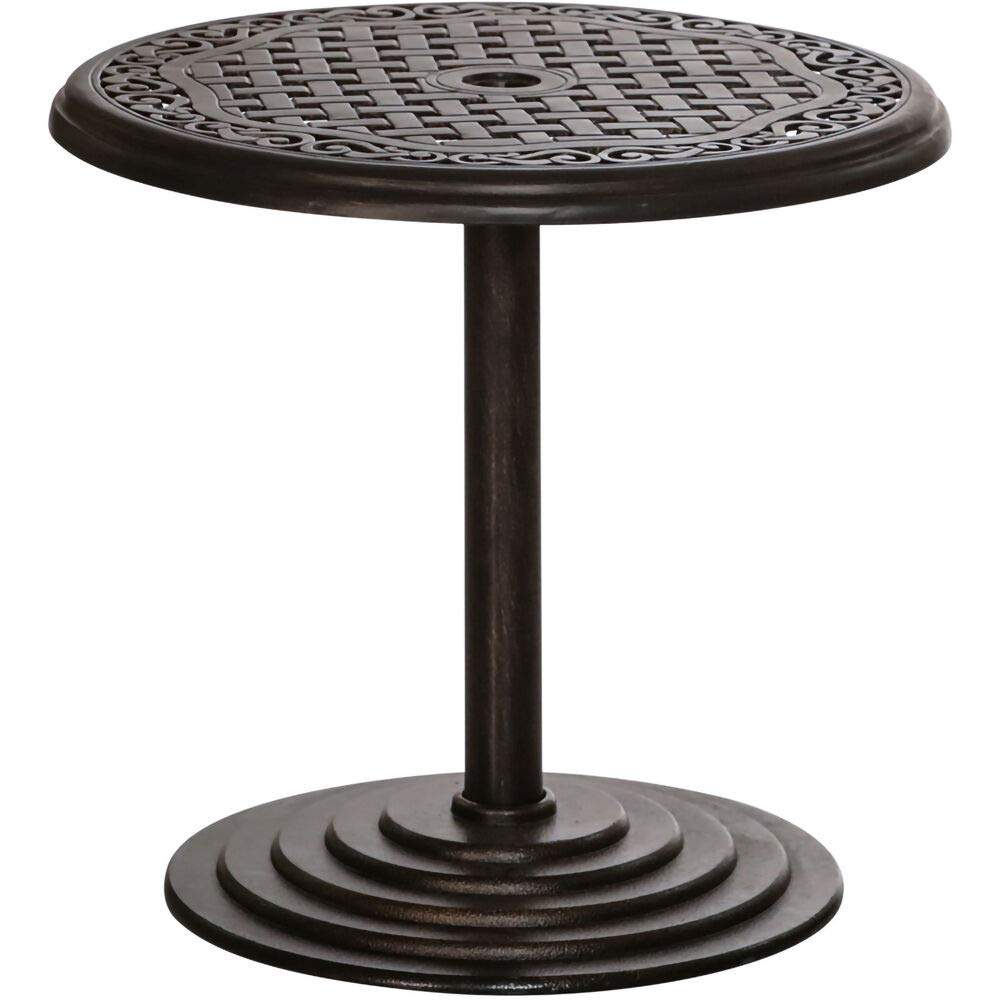 Hanover 25 in. Round Umbrella Side Table with Cast Tabletop, HANUMBTBL-RC Outdoor Furniture, Black