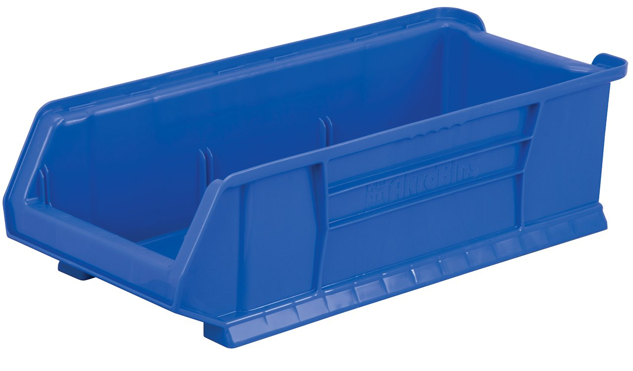 Akro-Mils 30286 24-Inch D by 11-Inch W by 7-Inch H Super Size Plastic Stacking Storage Akro Bin, Blue, Case of 4 by Akro-Mils