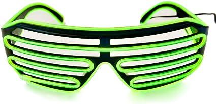GREEN LIGHT UP FLASHING EYE GLASSES novelty sunglasses lightup blinking 3 modes