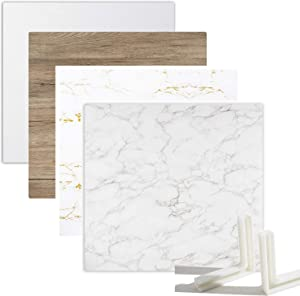 Youngerfoto 2 PCS Photo Backdrop Boards Kit, 24x24in Double Sided White Marble Wood Texture Food Backdrops Tabletop Flat Lay Photography Backgrounds for Jewelry Cosmetics Small Product Props
