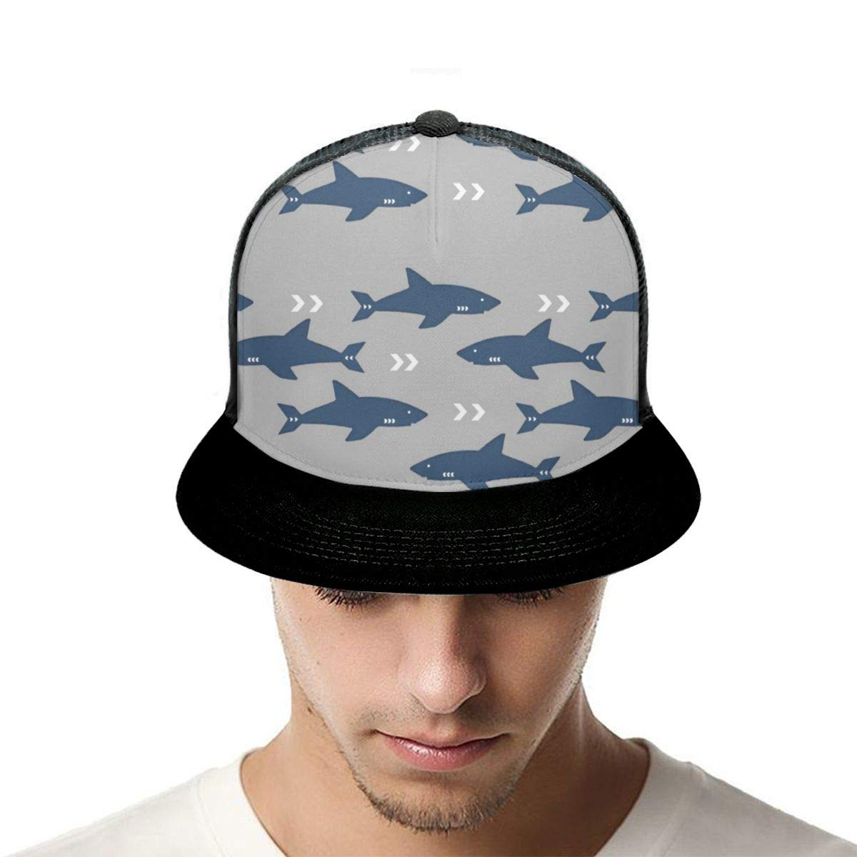 Boys and Girls 100/% Polyester Sharks Pattern Art Prints Mesh Cap Stretch Trucker Baseball Cap for Unisex