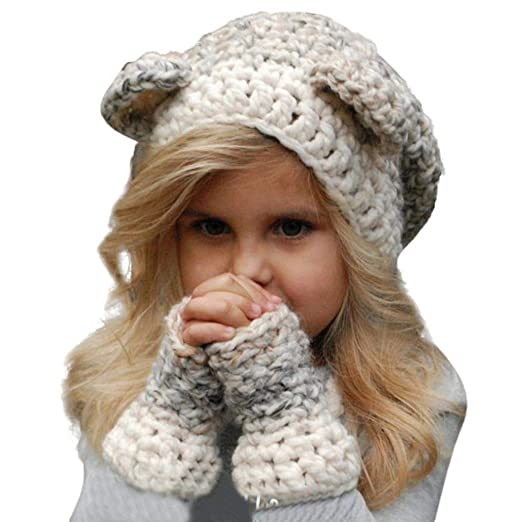 24d73a28dc9f0 Kids Baby Warm Autumn Winter Hat Scarf Gloves Set Owl Hat Knitted Hood Scarf  Beanies (