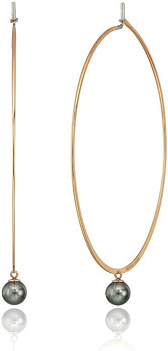 bb69b2c9f136e Michael Kors Modern Classic Pearl Rose Gold-Tone and White Grey Hoop  Earrings
