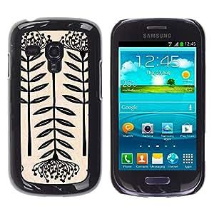 For Samsung Galaxy S3 III MINI (NOT REGULAR!) / I8190 / I8190N Case , Art Blossom Black White Simplistic - Diseño Patrón Teléfono Caso Cubierta Case Bumper Duro Protección Case Cover Funda