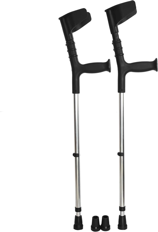 ORTONES | Pack de 2 Muletas Adulto con Doble Regulación Caña y Codo de Aluminio con Conteras de Repuesto