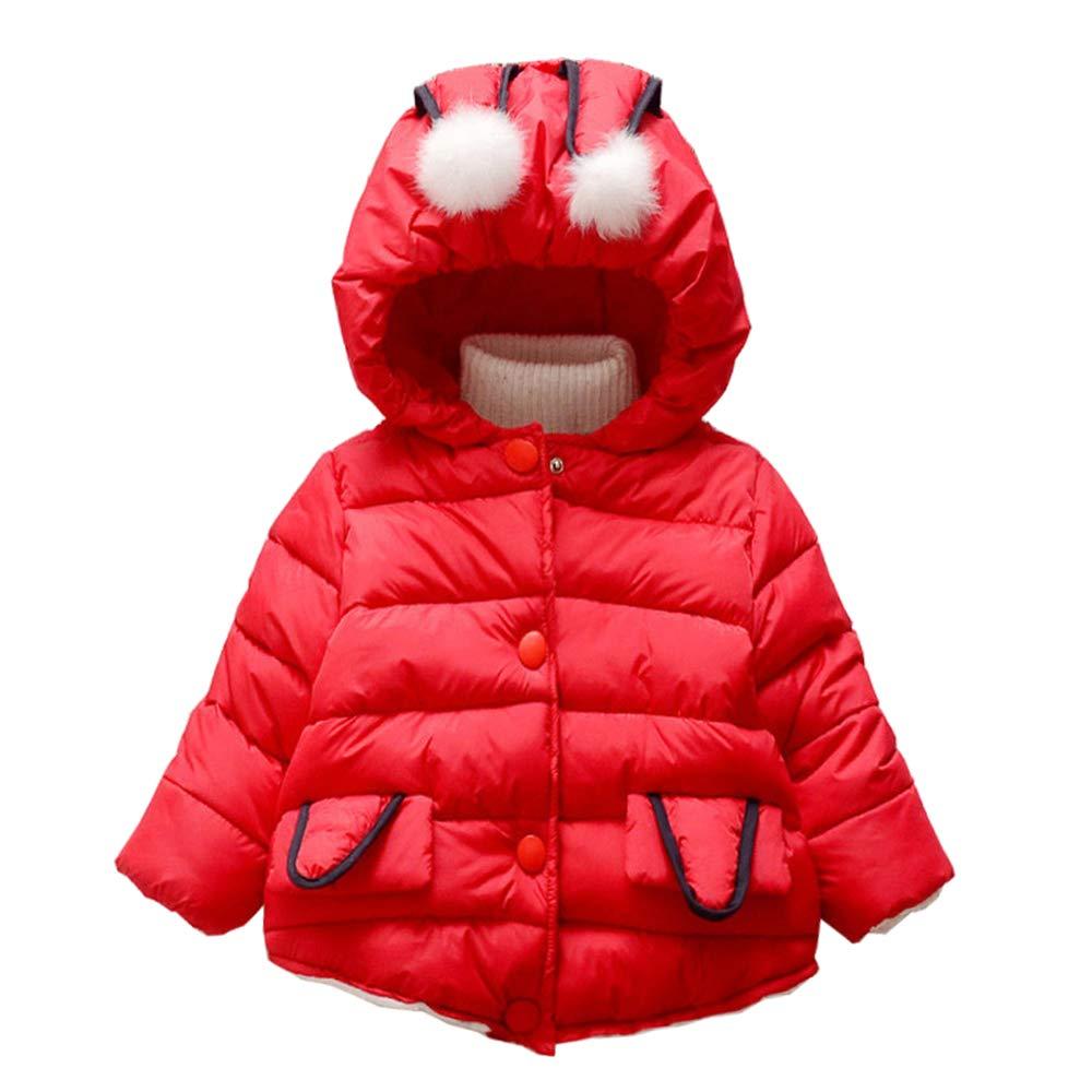 DAZISEN Einfarbig Daunenmantel Mädchen - Warm Kapuze Jacke Baby Kinder Mantel Steppjacke Winterjacke Outwear