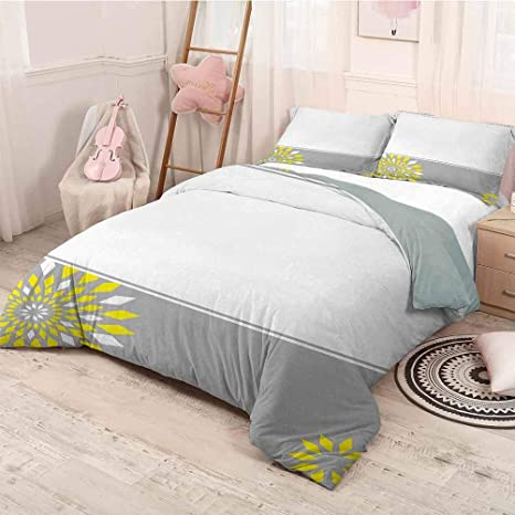 Amazon Com Prunushome Grey And Yellow Three Piece Bed Duvet Cover Modern Futuristic Border With Geometric Flower Frame Modern Style Lightweight Durable Light Grey White And Marigold Queen Home Kitchen