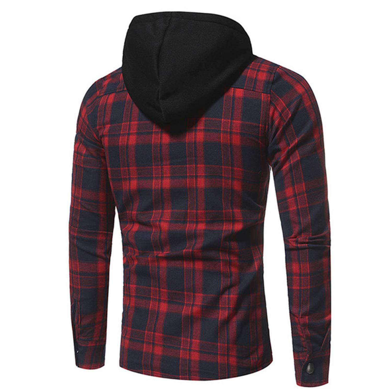 Mens Hoodies Casual Plaid Hooded Long Sleeve Sweatshirts Brand Gothic Hoodies