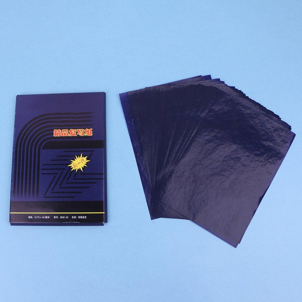 48K Meiqqm 50 Sheets Double Sided Carbon Copier Stencil Transfer Paper Stationery Supplies 18.5cmx8.5cm