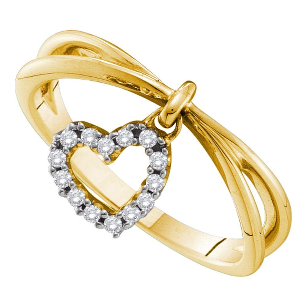 14kt Yellow Gold Womens Round Natural Diamond Heart Love Dangle Fashion Ring (.10 cttw.) (I1-I2)