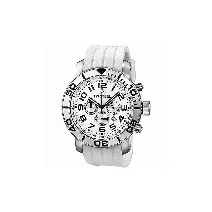 Amazon.com: TW Steel Mens TW95 Grandeur Diver White Rubber Strap Watch: TW Steel: Watches