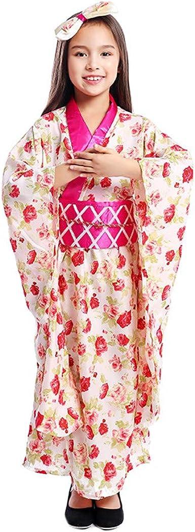 Niña Kimono Vestido Japonés Floaral Vestido Túnica Niño Geisha Cosplay Vintage Asia Yukata Niños Disfraces Disfraz De Flamenco M Kimono Japonés Clothing