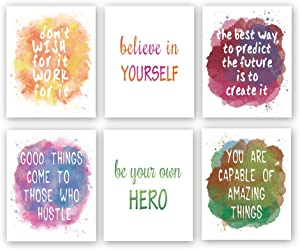 "Watercolor Inspirational Quote Art Print,Colorful Motivational Words & Saying Wall Poster Painting,Set Of 6(8""X10"",Unframed) Phrases Canvas Wall Art For Classroom Office Home Decor"