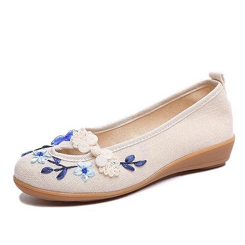 Zapatos de Mujer Zapatos Bordados Hechos a Mano Verano Nuevo algodón cáñamo Zapatos de Boca Poco