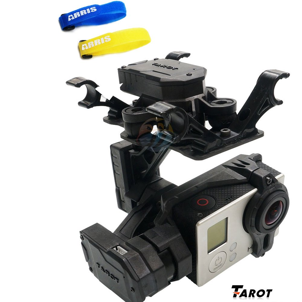 Tarot T4-3D 3-Axis FPV Brushless Camera Gimbal for Gopro Hero3 / GOpro3+ /Gopro4 TL3D01 (Free ARRIS Battery Straps) by Tarot
