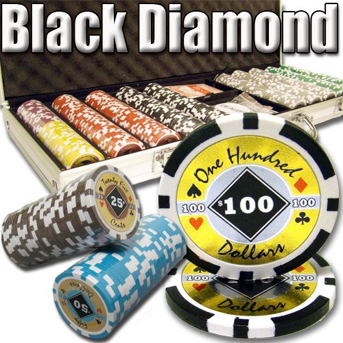 Clay Poker Composite Diamond Chips (500 Count Black Diamond Poker Set - 14 Gram Clay Composite Chips with Aluminum Case, Playing Cards, & Dealer Button for Texas Hold'em, Blackjack, & Casino Games by Brybelly)