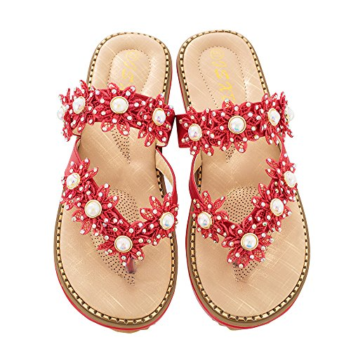 Qin&X Women's Casual Sandals Flats Flip Flop Red