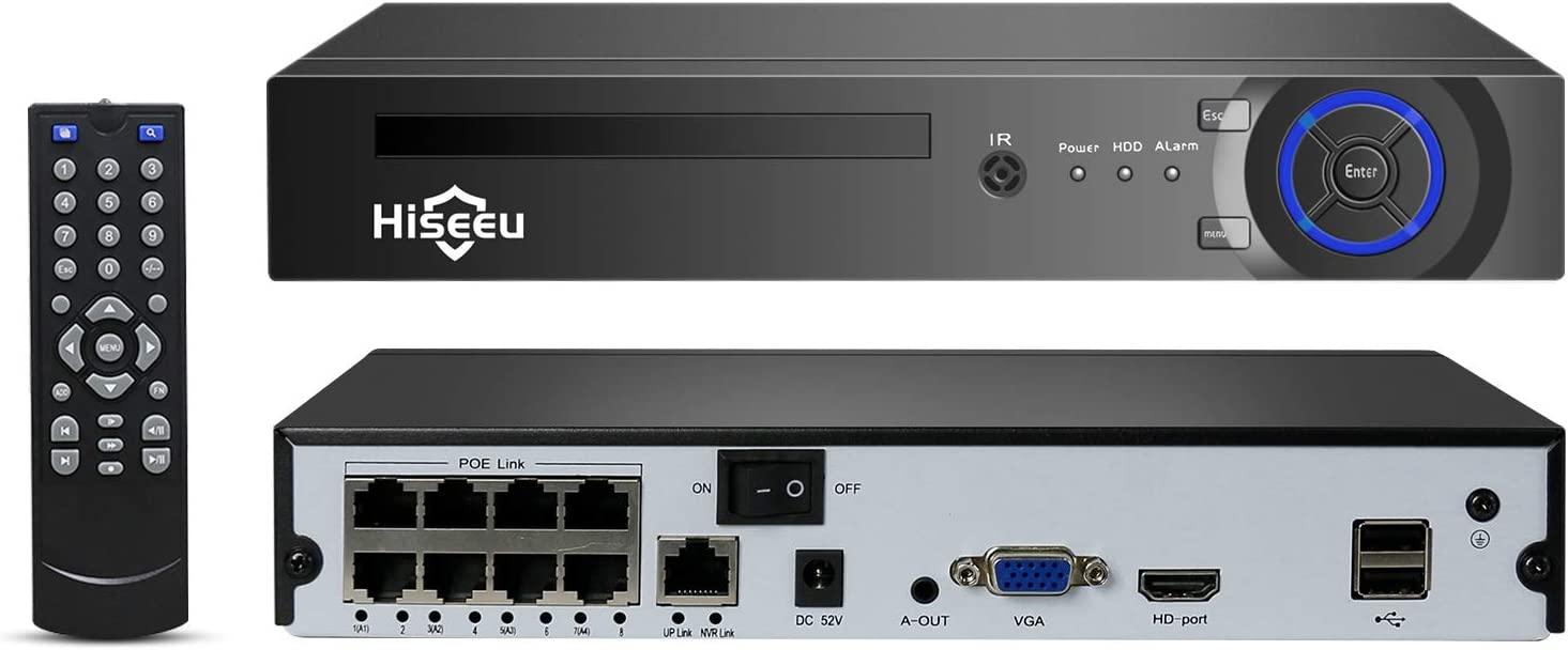 Hiseeu 8Channel PoE Network Video Recorder,H.265x Compression,Supported 8CH 5MP/4MP/3MP/1080P ONVIF IP Camera,Motion Alarm,App/Email Alerts,24/7/Motion Record,USB Backup,VGA and HDMI Output, NO HDD