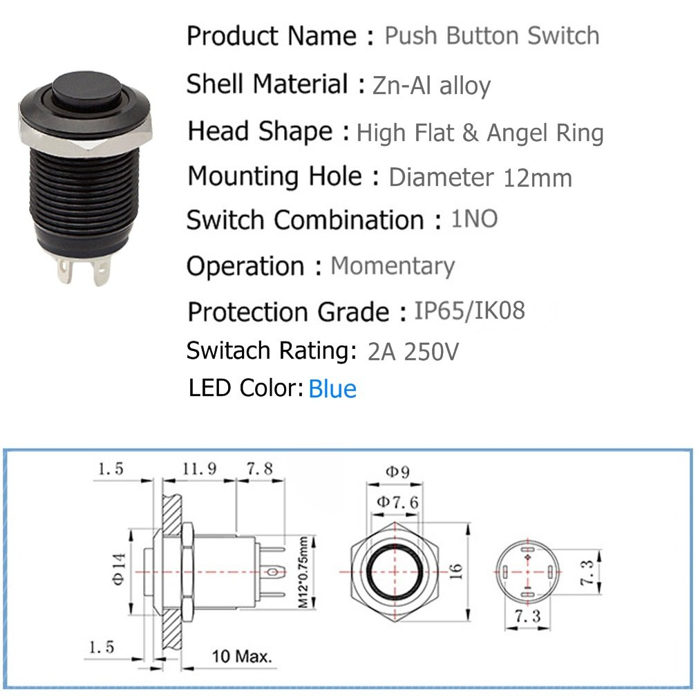 12mm 1 2 Momentary Push Button Switch 1no Spst Black Pushbuttons And Latching On Off In Blue White Metal Shell Led Ring Light Waterproof Toggle Switches Automotive