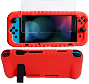 Kconn Protective Silicone Case for Nintendo Switch, Grip Cover with Tempered Glass Screen Protector, 2 Storage Slots for Game Cards, Soft and Durable, Shock-Absorption & Anti-Scratch (Red)