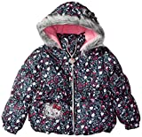 Hello Kitty Toddler Girls' All Over Printed Puffer Jacket with Fur Trim Hood, Multi Color, 3T