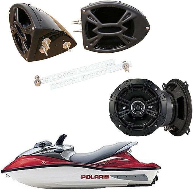 "5.25/"" Marine Ski Boat Stereo Speakers.Pair.Water White Flush Mount.5-1//4/"" NEW 2"