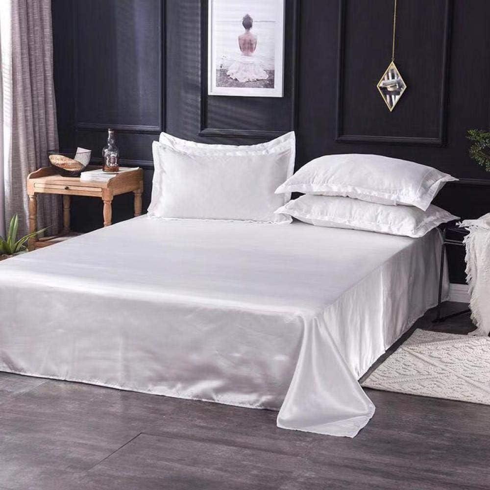 Yuan Duner Nouvelle Mode Couleur Unie Drap Plat en Soie Drap de lit Roi Reine Soie Satin Super Doux draps Confortables-caf/é/_1pc 180x230cm