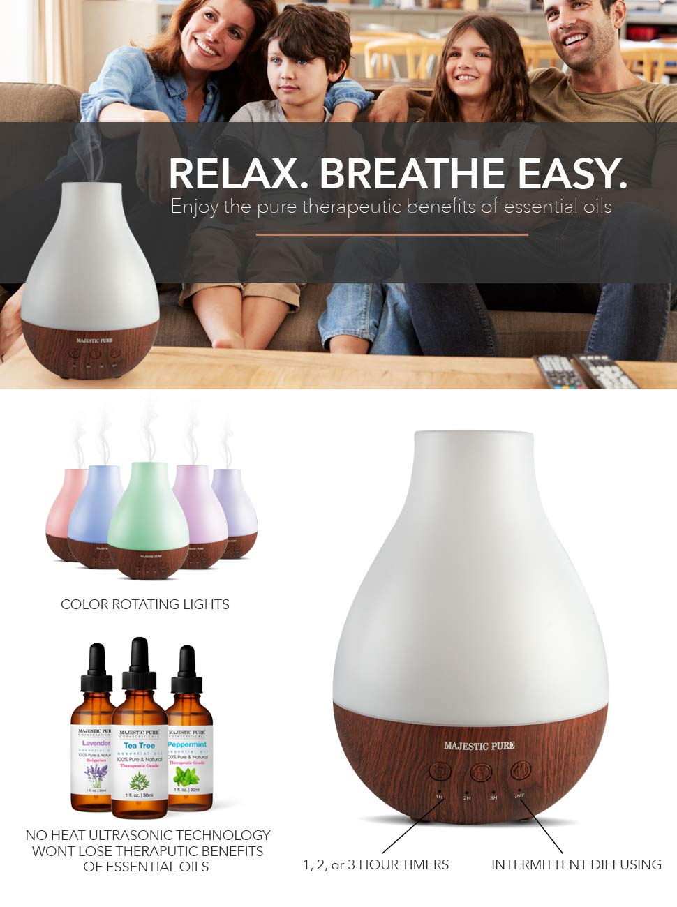 Essential Oil Diffuser by Majestic Pure - Advanced Aroma Diffuser with Strongest Mist Output - Ultrasonic, Wider Area, Cool Mist Humidifier, Longer Run Times, BPA Safe and Automatic Safety Features