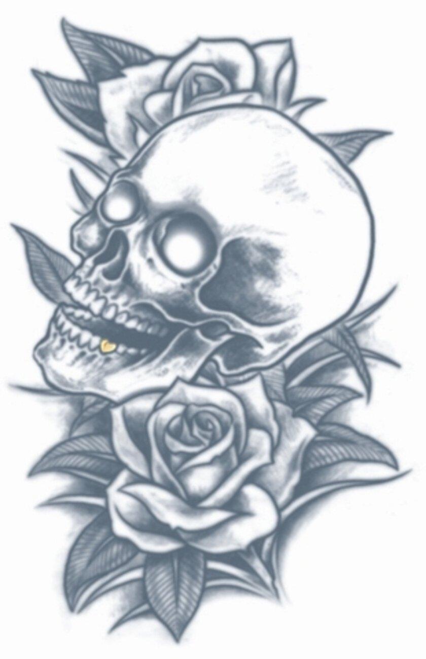 Tinsley Transfers Prisión Cráneo Y Rosas Tatuaje Temporal Tt-Pr314 ...