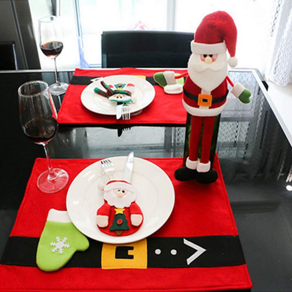 CHoppyWAVE Cutlery Pouch, Santa Snowman Cutlery Holder Utensil Bag Fork Knife Pocket Xmas Table Decor - Santa Claus by CHoppyWAVE (Image #6)