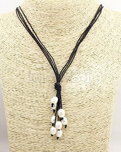20' Black Leather Necklace (Genuine 9-10mm Natural White Freshwater Pearl Black Leather Necklace 20'' Long)