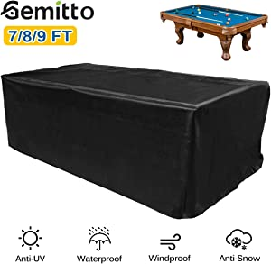 GEMITTO 7/8/9 ft Pool Table Cover, Waterproof Billiard Cover Polyester Fabric for Snooker Billiard Table (113x61x32.3in)
