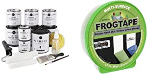 """Giani Carrara White Marble Epoxy Countertop Kit & FROGTAPE 1358463 Multi-Surface Painter's Tape with PAINTBLOCK, Medium Adhesion, 0.94"""" Wide x 60 Yards Long, Green"""