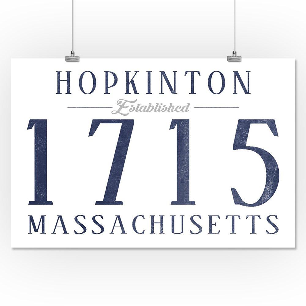 36x54 Giclee Gallery Print, Wall Decor Travel Poster Hopkinton Established Date Massachusetts