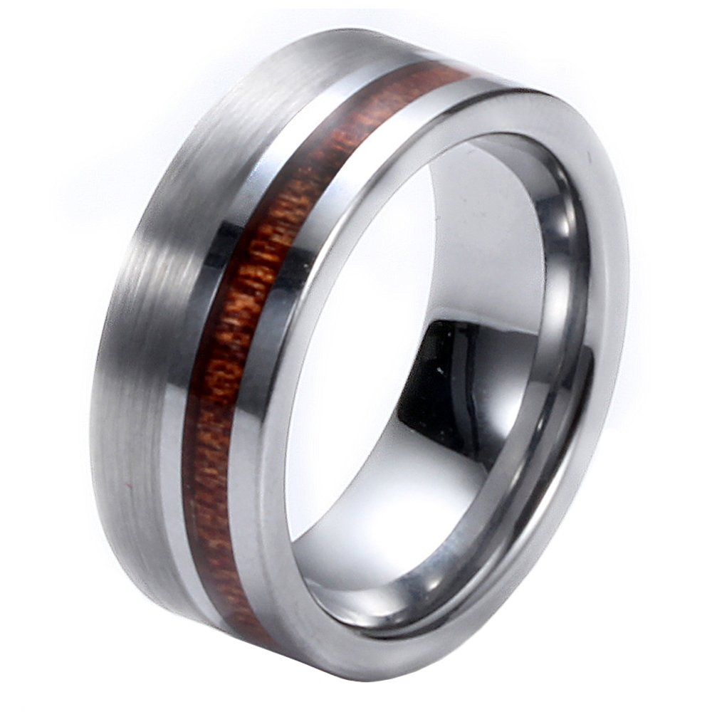 HIJONES Tungsten Carbide Wood Inlay 8mm Silver Brushed Flat Pipe Cut Ring Comfort Fit Wedding Band, Size 12