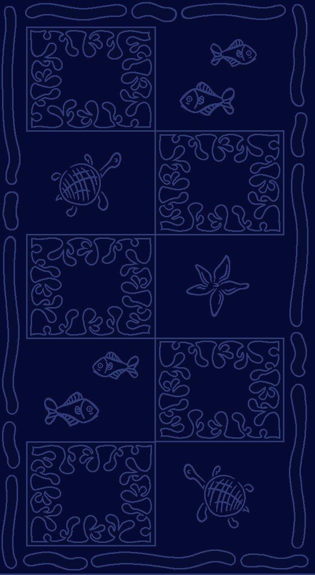 Telo mare XXL 100x200cm - 100% cotone 380g/m² - design Tartaruga - colore Blu scuro JMA