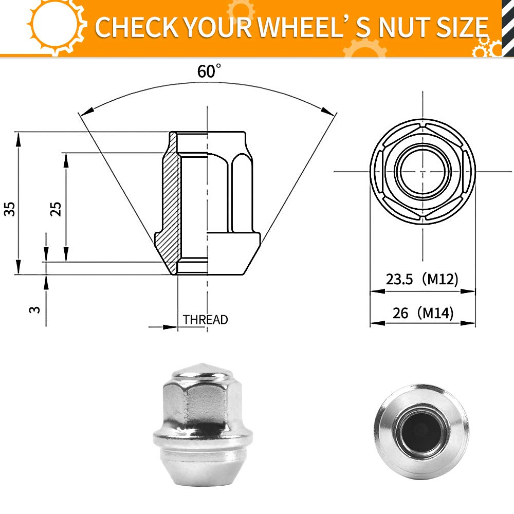 MIKKUPPA M12x1.5 One-Piece Chrome OEM Factory Style Large Acorn Seat Lug Nuts for 2001-2019 Ford Escape 2006-2019 Ford Fusion Factory Wheels 2012-2018 Ford Focus