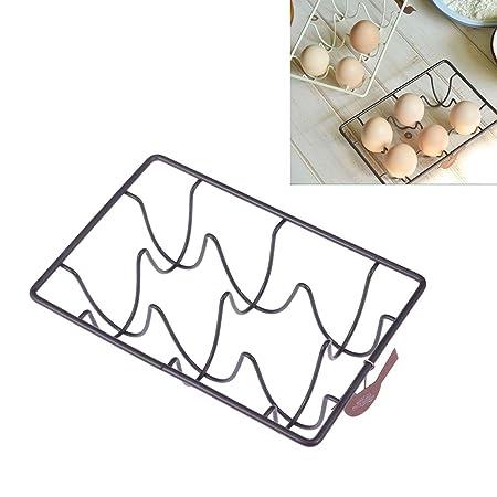 Topbathy - 6 hueveras de metal con bandeja de alambre para huevo ...
