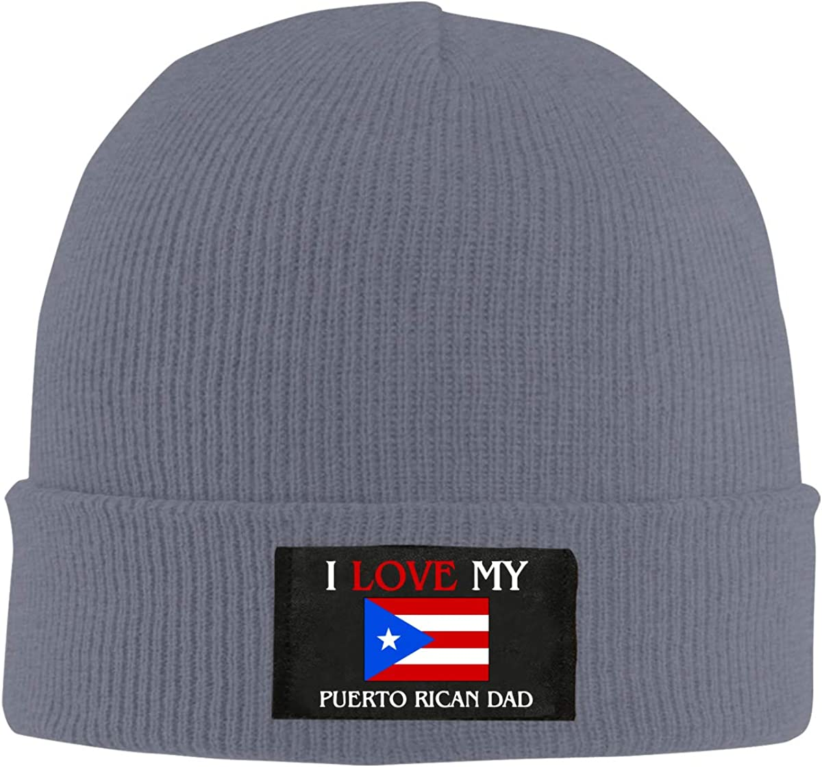 I Love My Puerto Rican Dad Unisex Knitted Hat Winter Warm Fleece Beanie Hat
