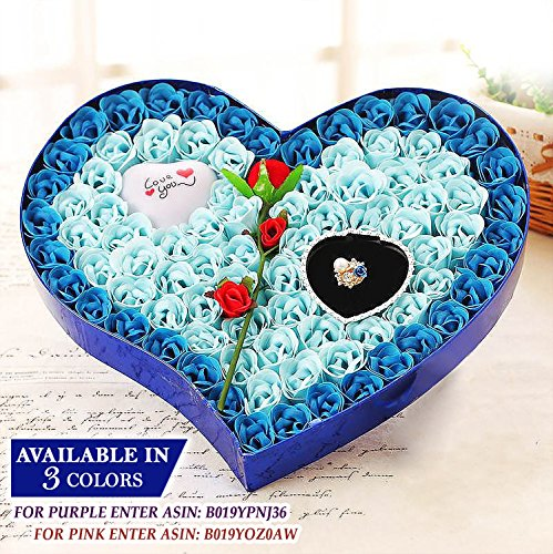 Ginzick 92 Pcs Romantic Heart Flower Soap Roses with Led Love Heart Great for Mothers Day Fathers Day Valentines Day And All Year Round I Love You Gift Box - Color Blue