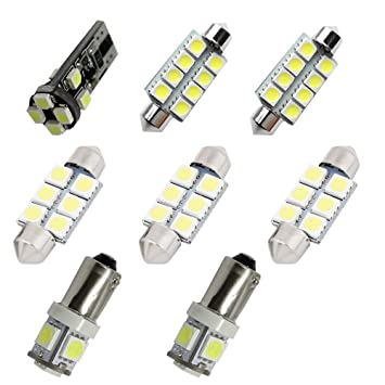 Para Audi A4 S4 B7 B8 Led luces interiores LED Interior Coche Luces Kit de bombillas blanco 8pcs: Amazon.es: Coche y moto