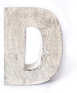 Kaizen Casa Vintage, Rustic Mango Wood Alphabet Letter D, Wall Decor, Wall Sculptures, Home, Office, Party Décor.