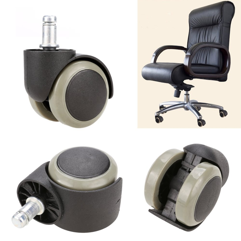 New 5PCS Office Chair Soft Rubber Caster Wheel Swivel Wood Floor Funiture Replacement GESTO