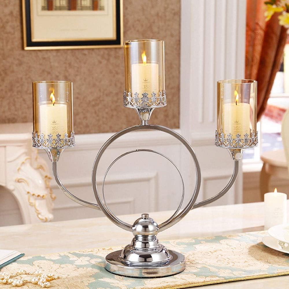 KMYX Moderno 3-Armado Boda Minimalista Candlelight Dinner Accesorios creativos de Velas romántica decoración del Metal del sostenedor de Vela de Cristal Decoración Linterna