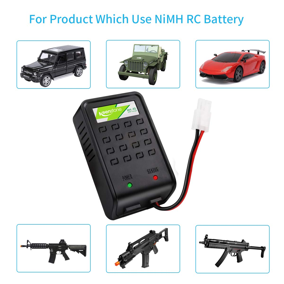 Keenstone Airsoft Chargeur Batteries avec Prise Mini Tamiya et Adaptateur Standard Tamiya pour Batteries NiMH 1-8s Compatible - Chargeur Rapide 1A pour Batteries Airsoft 1.2 V 2.4 V 3.6 V 4.8 V 6 V 7.2 V 8.4 V 9.6 V