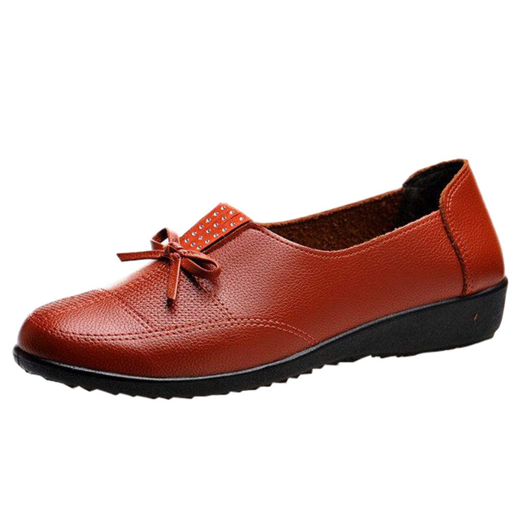 Sunmoot Leather Loafers Flat Slip On Comfy Breathable Soft Bottom Casual Peas Boat Shoes Orange